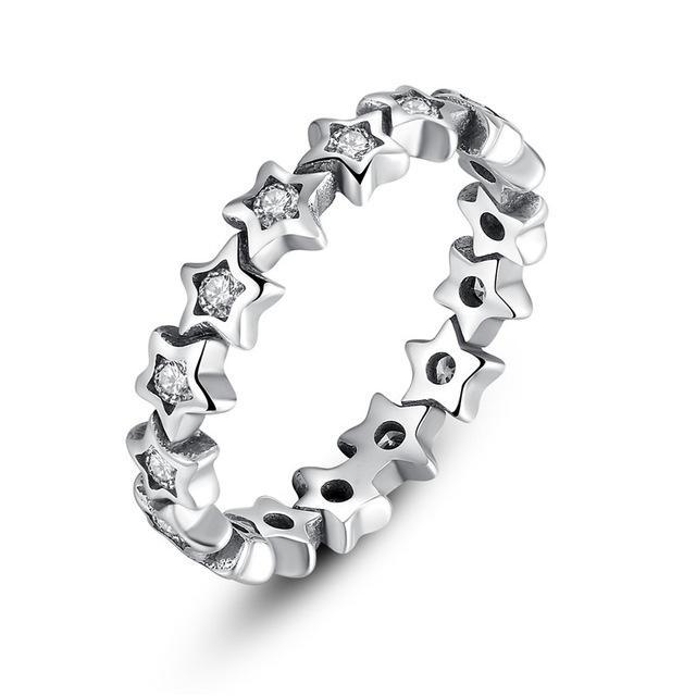 925 Silver Star Trail Stackable Party Rings for Women Female Original Jewelry