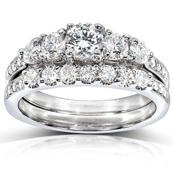 Diamond Engagement Ring and Wedding Band Set 1 carat (ctw) in 14k White Gold