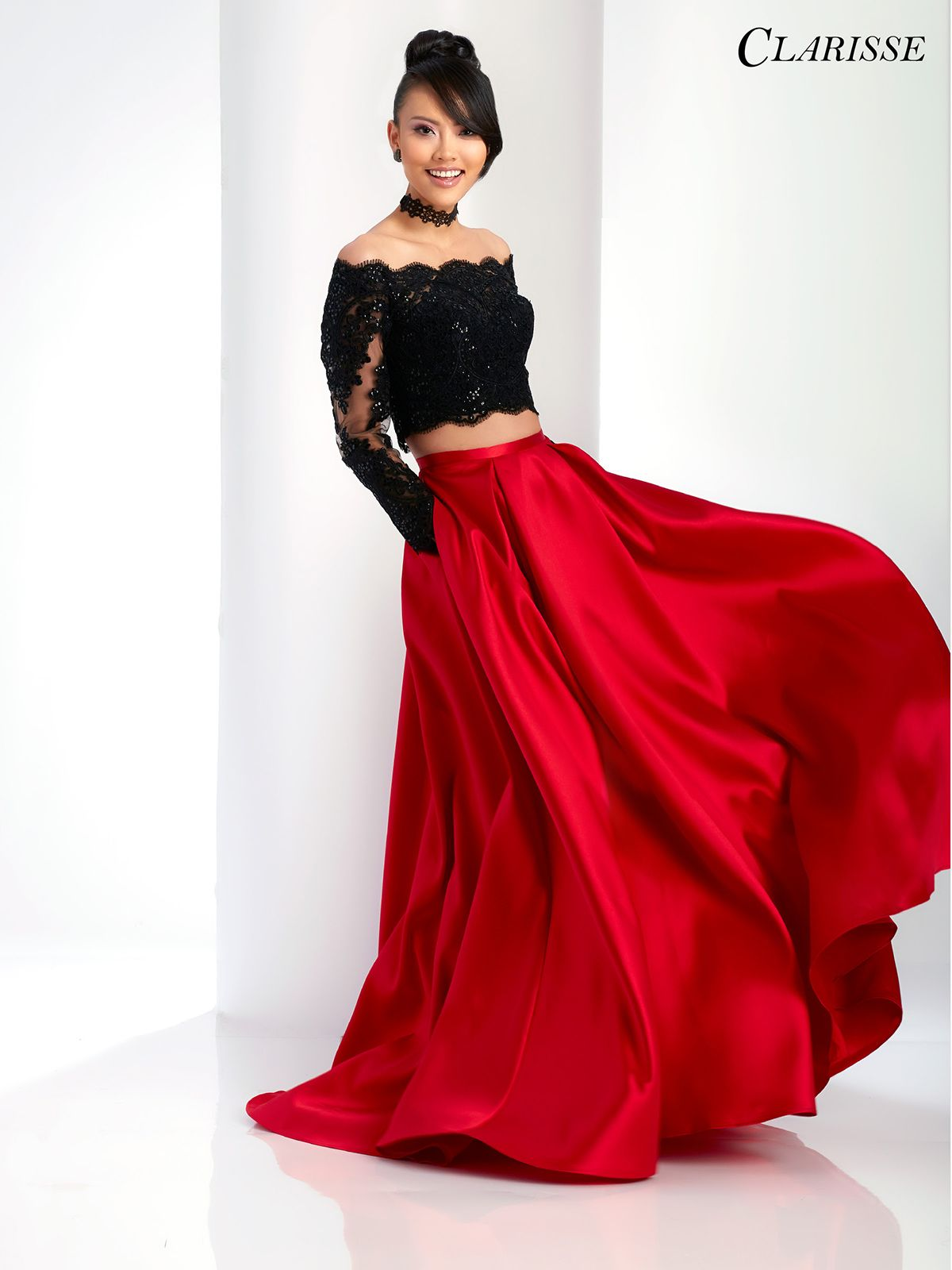Long Sleeve A Line Two Piece 3581 2 Colors Two Piece Prom