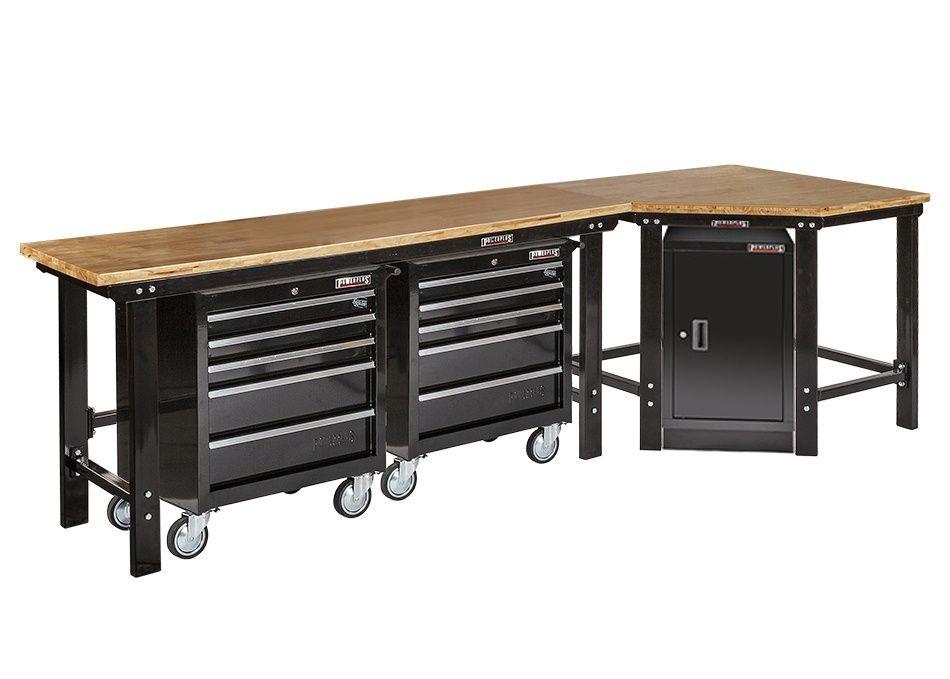 u00dcbereck Werkbank 310 cm schwarz mit Hartholzplatte + Werkstattschrank + 2 x Werkstattwagen 5