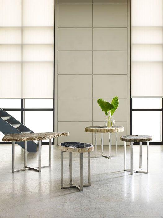 Side table option J petrified wood on stainless base