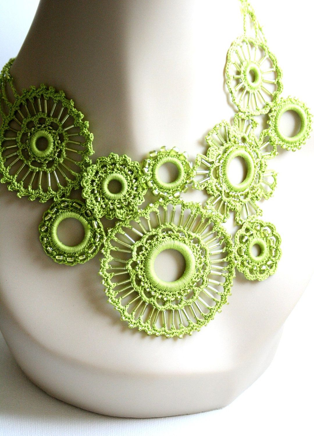 Spring Green Crocheted Beaded Necklace Featured in Vogueknitting Crochet 2012 Special Collector's Issue. $65.00, via Etsy.