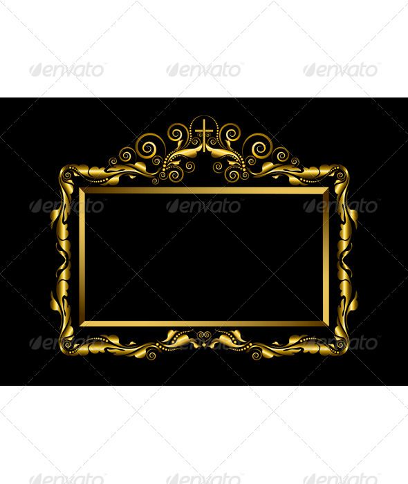 276db8c1a411 Luxury gold frame with decoration of spirals and a cross on a black  background. Vector Illustration.EPS-10. Main files and