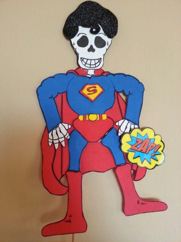 Calaverita Superman Calavera De Papel Calaveras Vestidas De Personajes Craneos Decorados