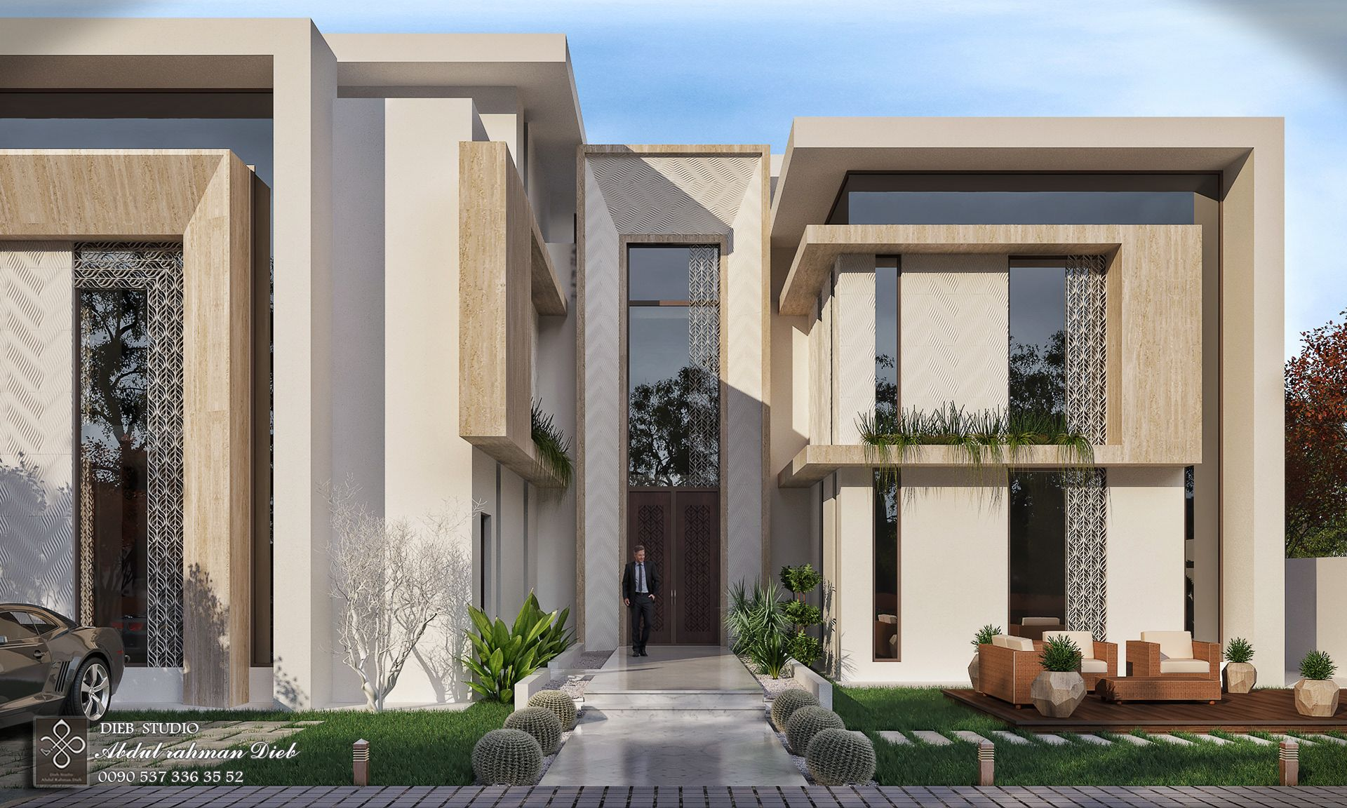 Modern Villa In Bright Colors On Behance Modern House Facades Modern Architecture Building Modern Architecture