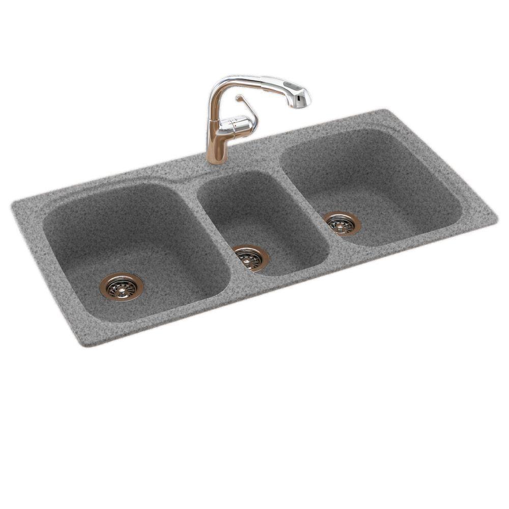 Swan Drop In Undermount Solid Surface 44 In 1 Hole 40 20 40 Triple Bowl Kitchen Sink In Gray Granite Ks04422tb 042 The Home Depot Drop In Kitchen Sink Solid Surface Sink