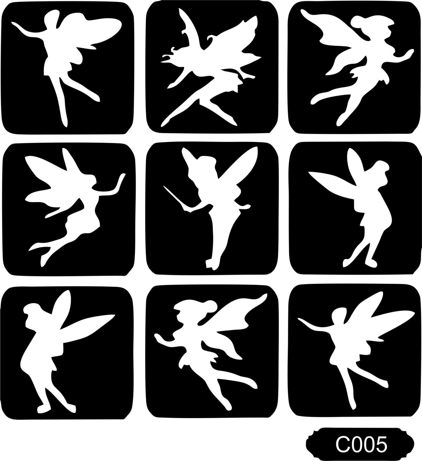 45 Mixed Stencils Pack for Body Art and Glitter Temporary