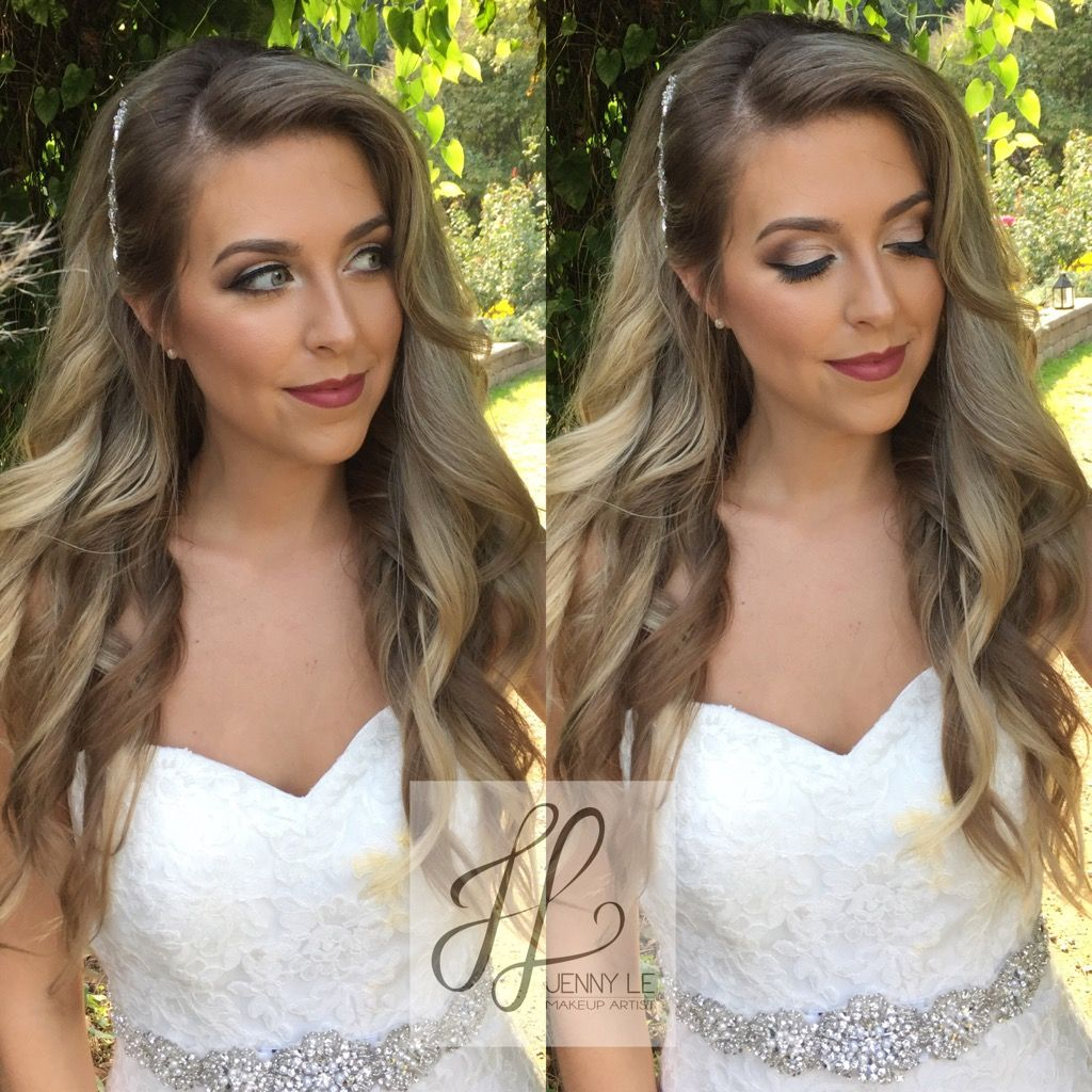 Glamour big curls down and romantic bridal makeup for