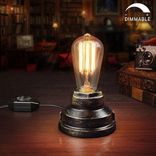 Vintage Table Lamp Wrought Iron Desk With Dimmer Switch Steampunk Antique Accent E26 Edison Base Retro Holder Light