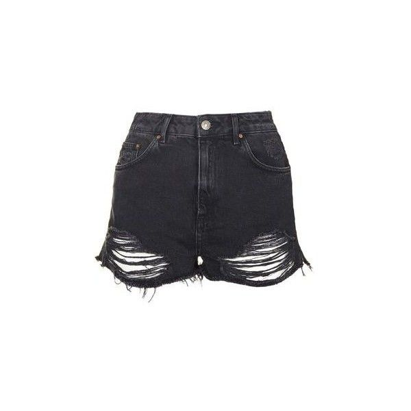 TopShop Petite Moto Ripped Mom Shorts ($44) ❤ liked on Polyvore ...