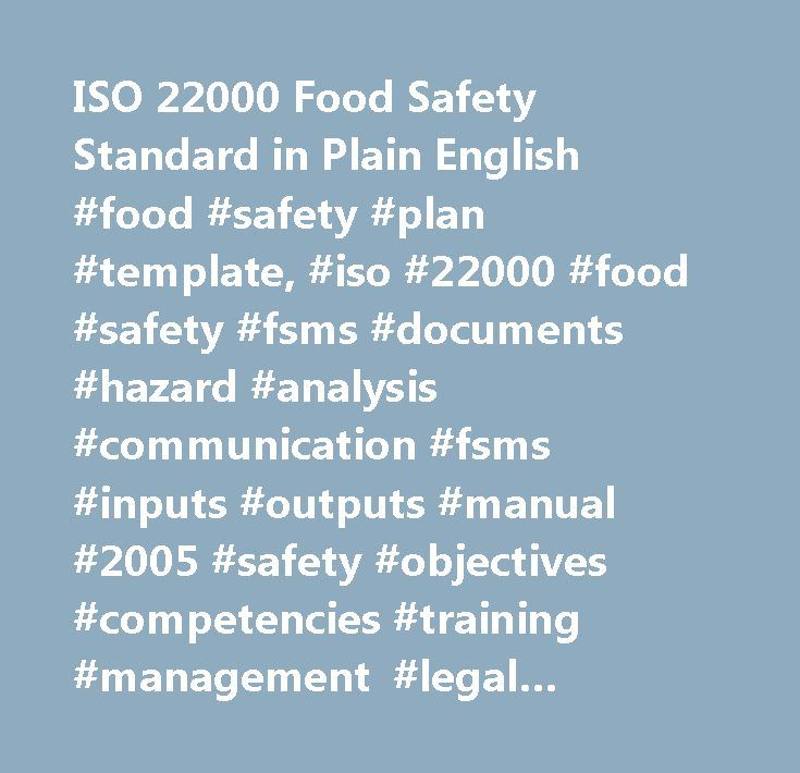 ISO 22000 Food Safety Standard in Plain English #food #safety - safety plan template