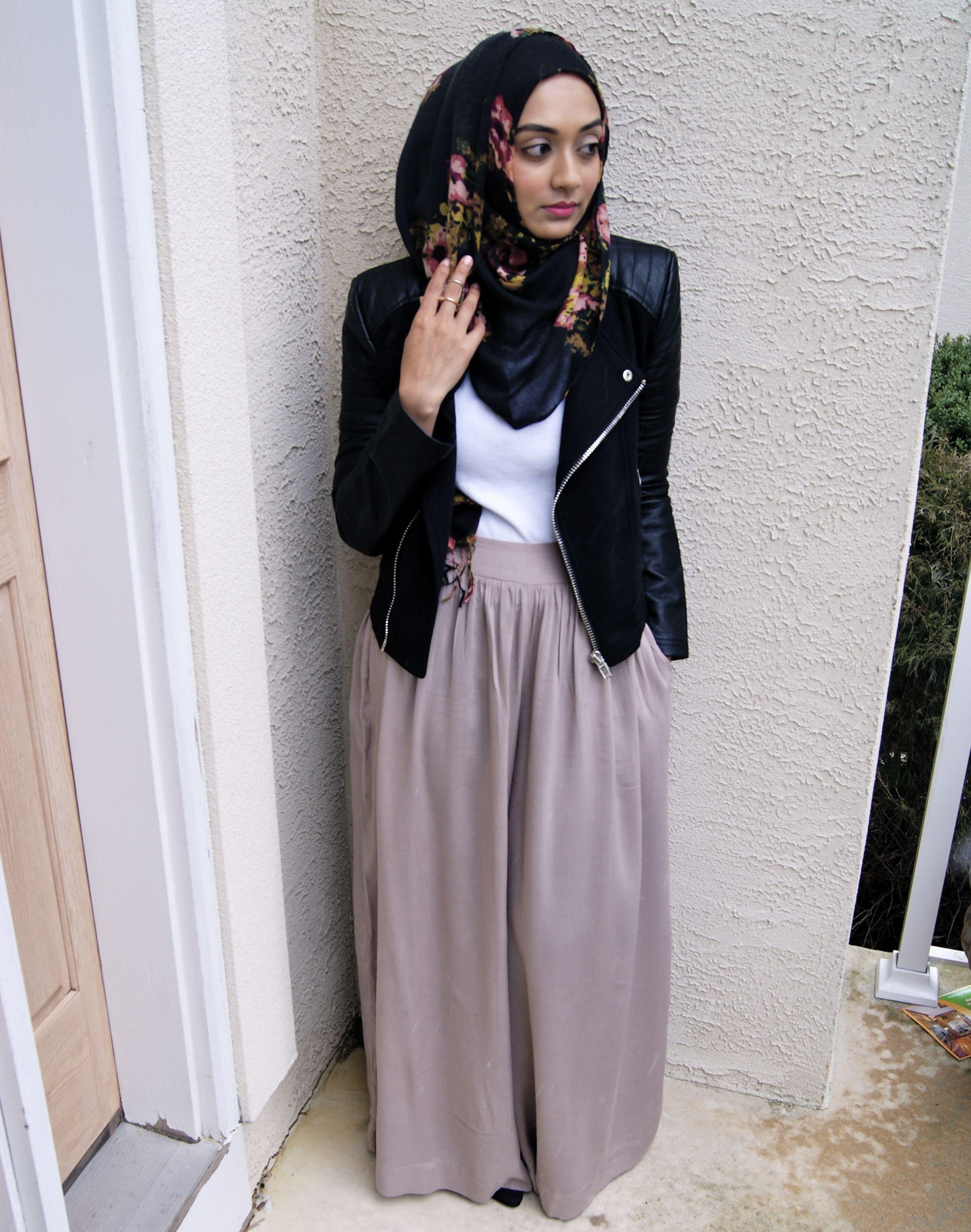 Leather jacket hijab - What To Wear Summer Edition Muslimgirl Netmuslimgirl Net Hijab Fashionmodest Fashionbeautiful Hijabblack Leather Jacketspalazzo