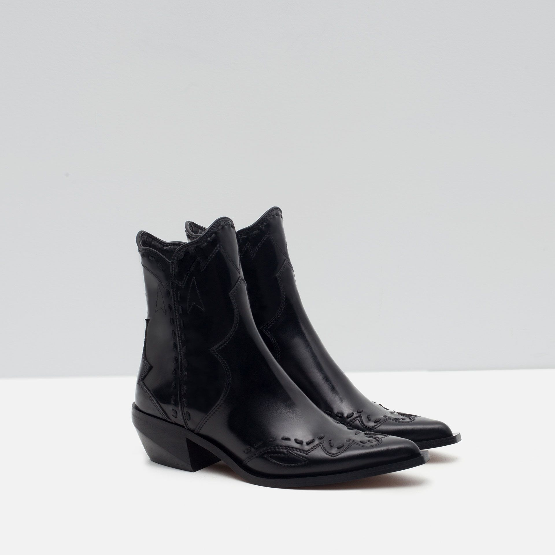 7fa0a403a Image 4 of FLAT LEATHER COWBOY ANKLE BOOTS from Zara | Boots ...
