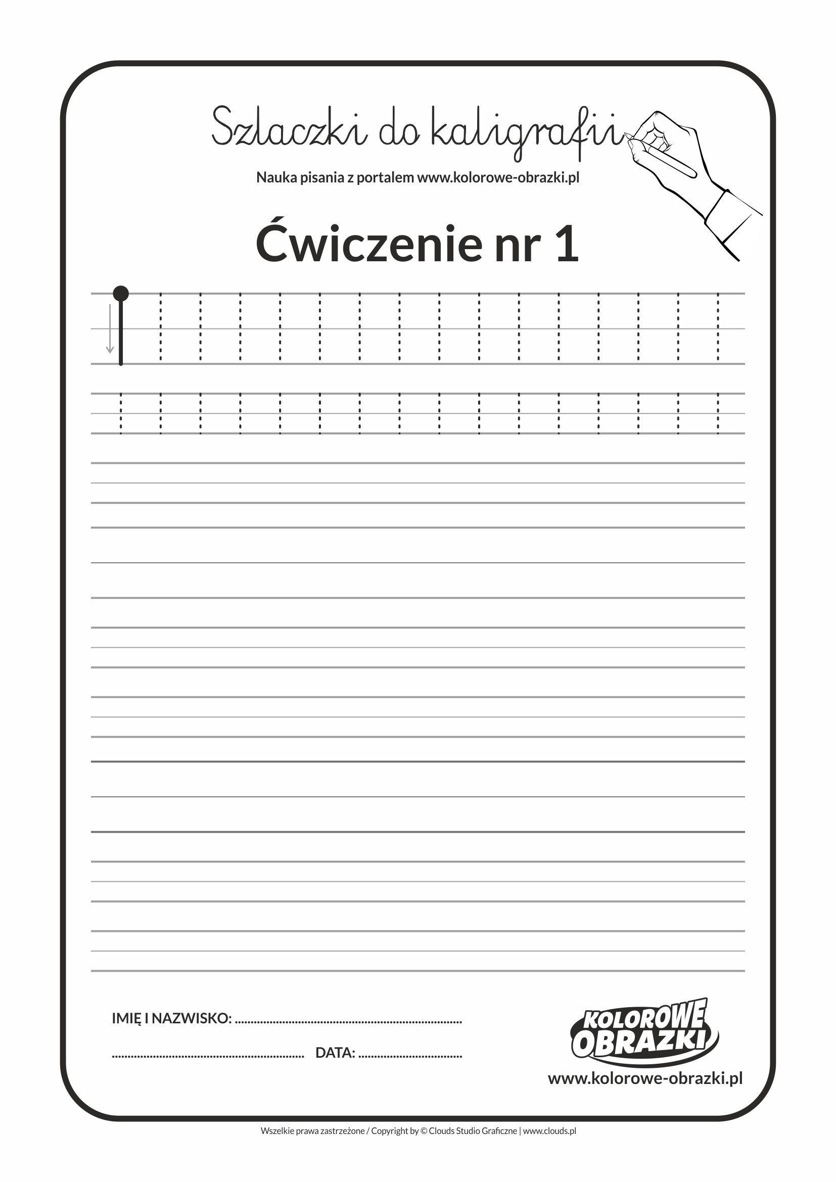 Szlaczki Nauka Kaligrafii Dla Dzieci Cwiczenie Nr 1 With
