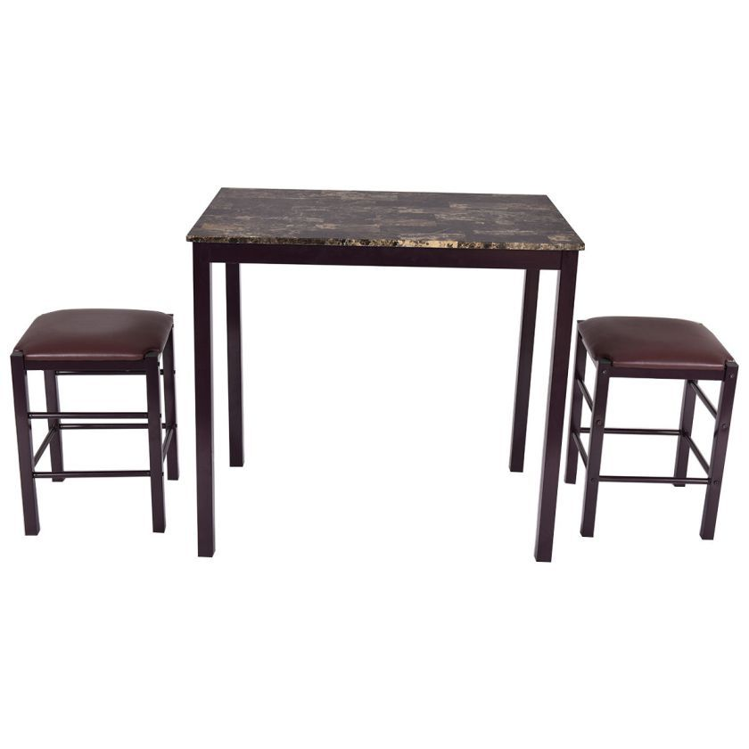 3 PCS Counter Height Dining Set Faux Marble Table 2 Chairs Kitchen Bar Furniture 79.95