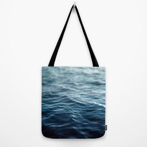 Dark Waters  Tote Bag Blue Surf Coastal Ocean Water by NatureCity  perfect beach tote