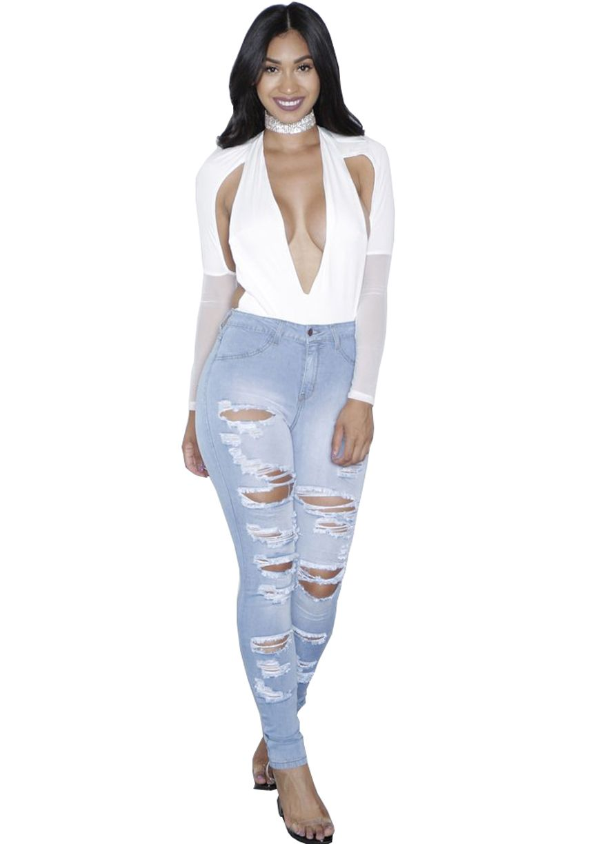 cb5dfa80e42 Destroyed Wash Denim Light Blue Skinny Ripped Jeans Butt Lifting Skinny  Jeans Women Jeans Sexy Lingeire