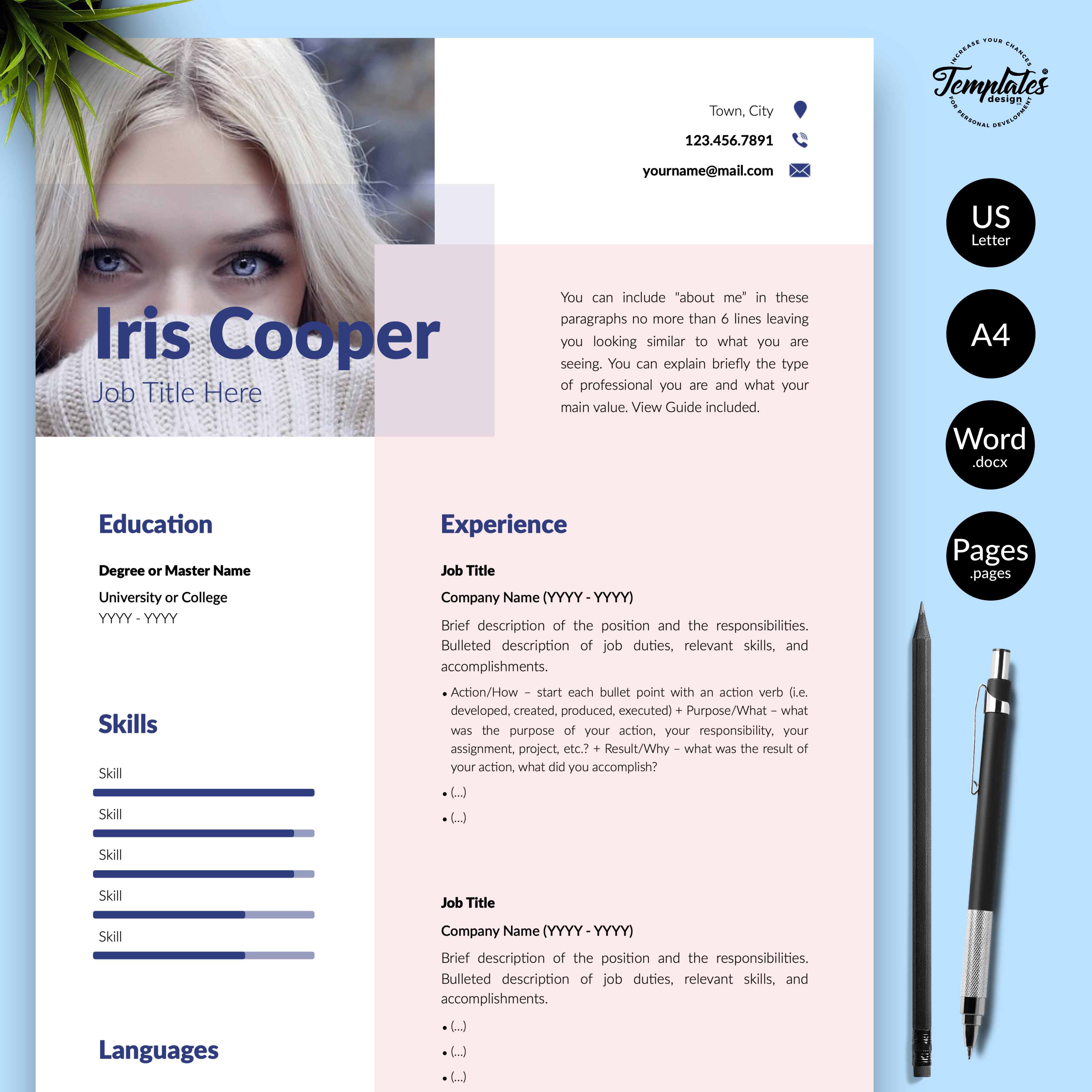 Professionelle Lebenslauf Vorlage Fur Microsoft Word Und Apple Pages Best Cv Template Cv Template Resume Template Word