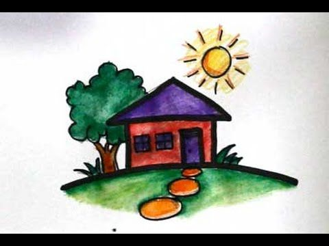 cara menggambar rumah | Cara menggambar, Gambar, Belajar ...