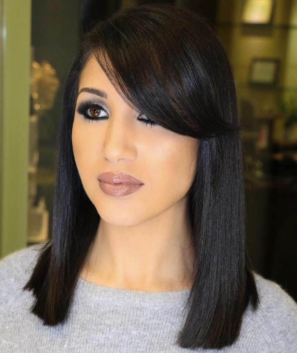 20 Modern Ways To Style A Long Bob With Bangs Long Bob With Bangs Bob Hairstyles Bob With Bangs