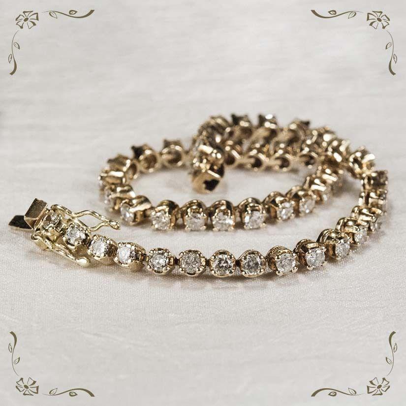 Striking Vintage 3 1/4ctw Diamond 585 14k Gold Tennis Bracelet