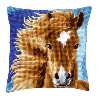 click here to view larger image of Brown Horse Pillow (counted cross stitch kit).    /Love this EL./