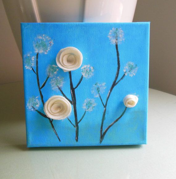 Original Blue Canvas, 3D Flowers On Canvas, Girl Room Decor, 8x8 Acrylic  Painting