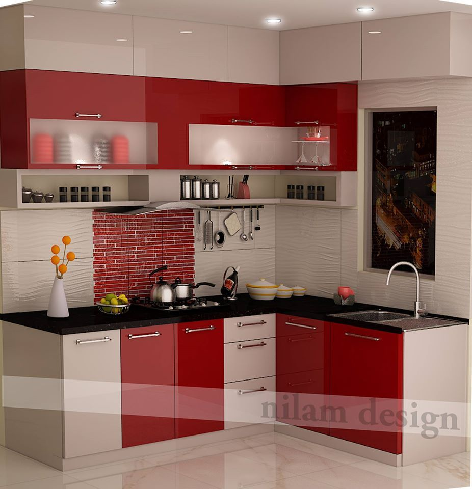kitchen with red combination  Modular kitchen cabinets, Kitchen