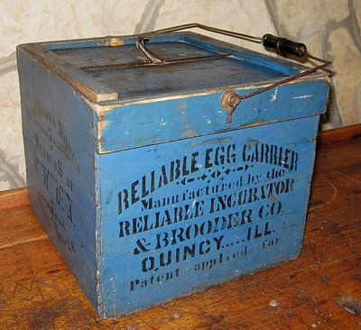 Antique Advertising Primitive Wood Egg Crate Carrier Box Old Blue