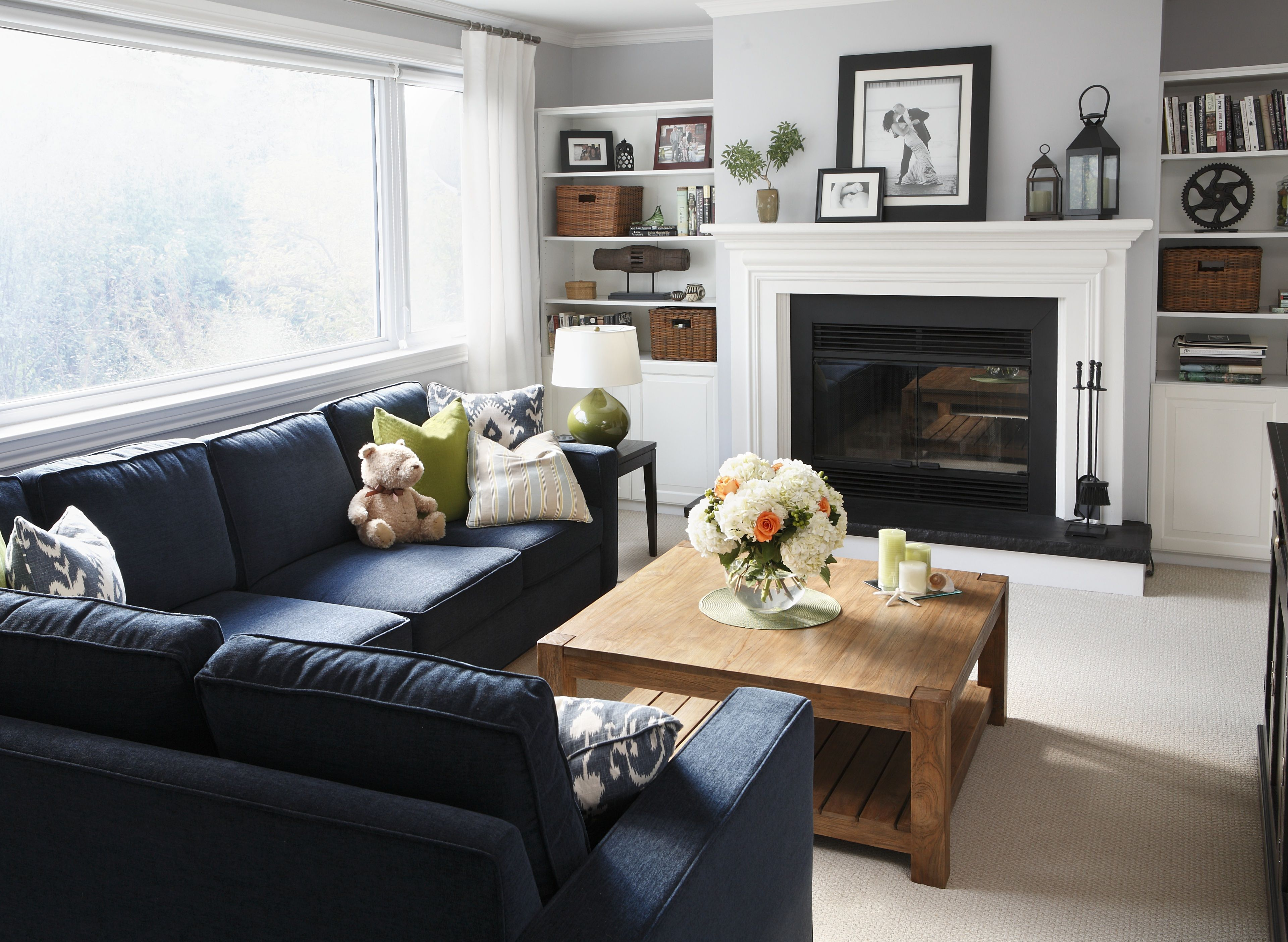 Refined By Design Interior Design Toronto Family Room With Blue Chenille Sectional Sof Sectional Sofas Living Room Blue Couch Living Room Livingroom Layout