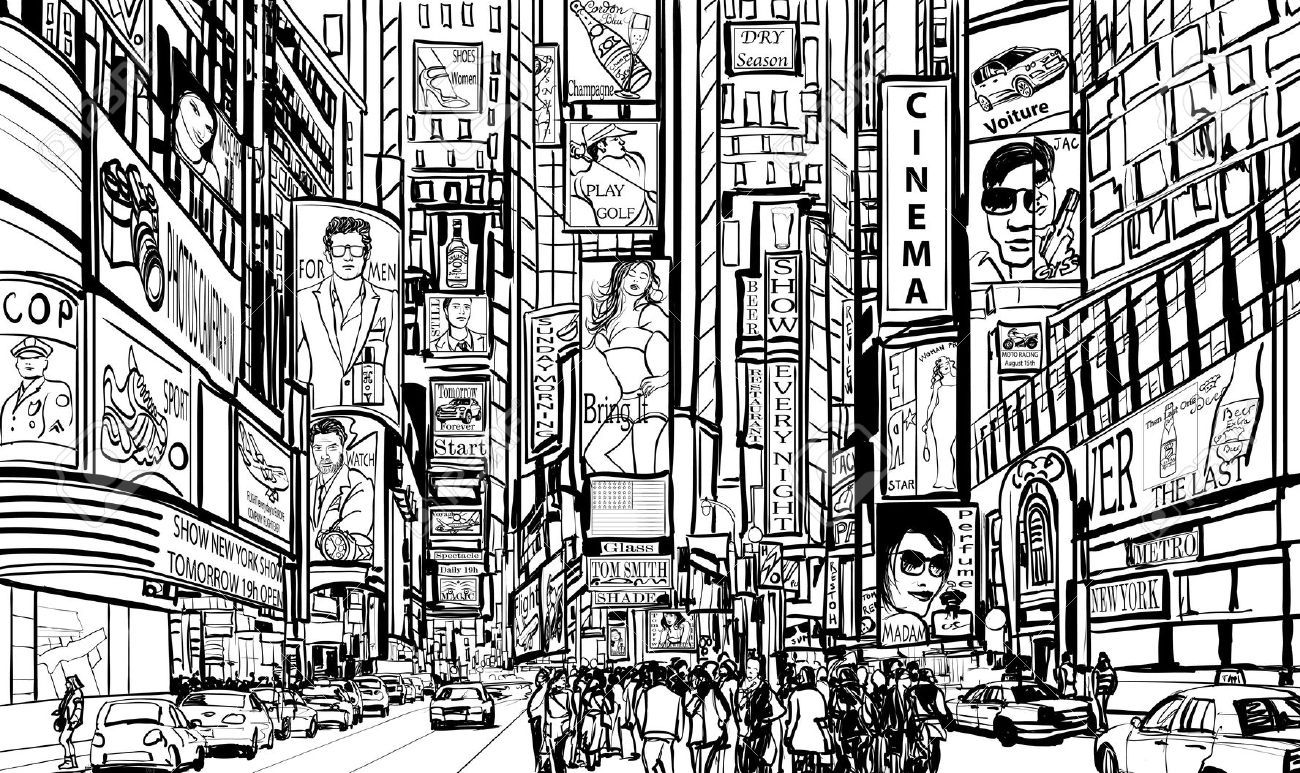 Line Art City : Illustration of a street in new york city royalty free cliparts