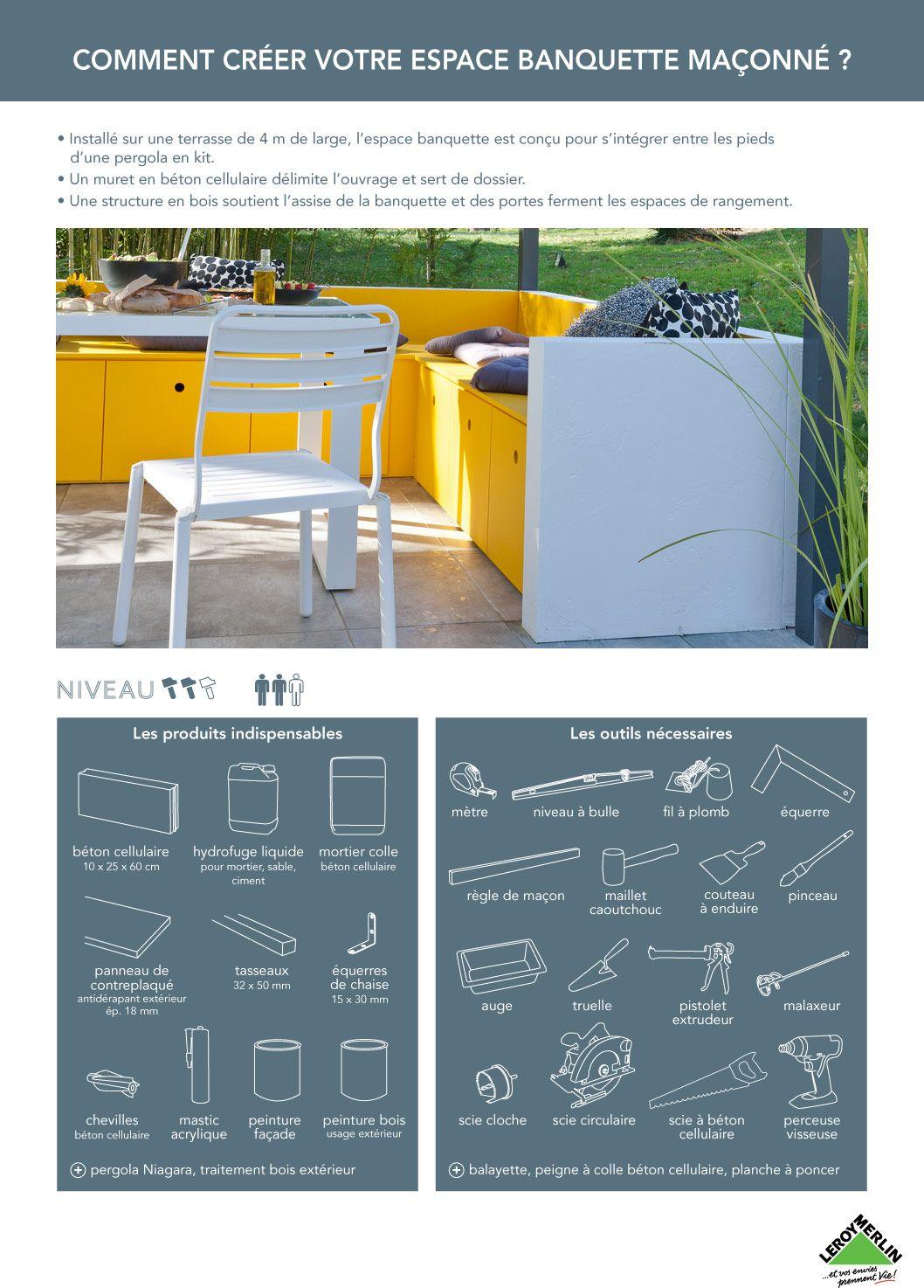 cr er une banquette ma onn e jardin et terrasse pinterest banquette cr er et terrasses. Black Bedroom Furniture Sets. Home Design Ideas