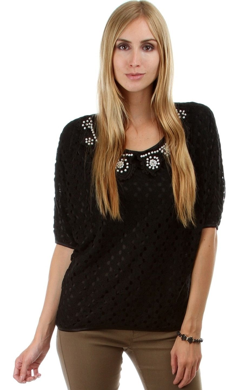 Pearl Collar Crochet Top