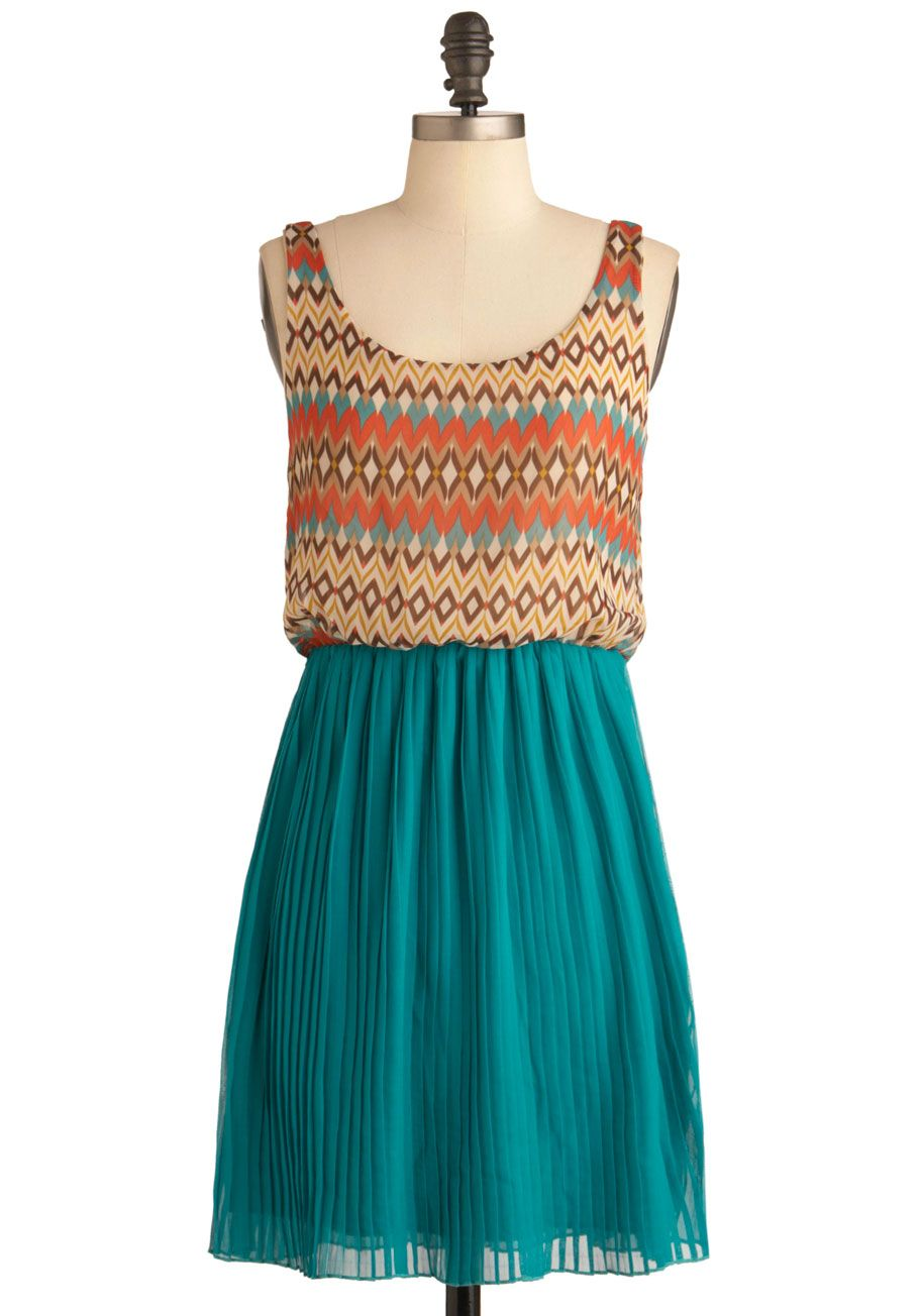Orange dress casual  All Decked Out Dress  Midlength Green Multi Orange Brown Tan