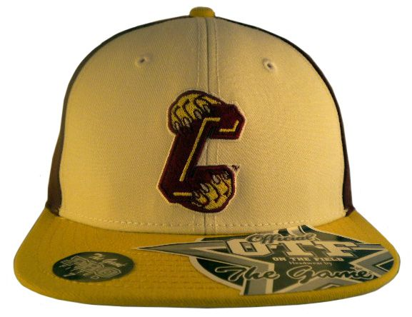 """College of Charleston """"On Field"""" Fitted Cap White/Maroon  $19.99  College of Charleston """"On Field"""" fitted cap made by The Game. The cap is maroon with a white front and vegas gold bill. On the front is the school logo, and on the back is a pictured of the """"paw"""". The cap is made of wool material."""