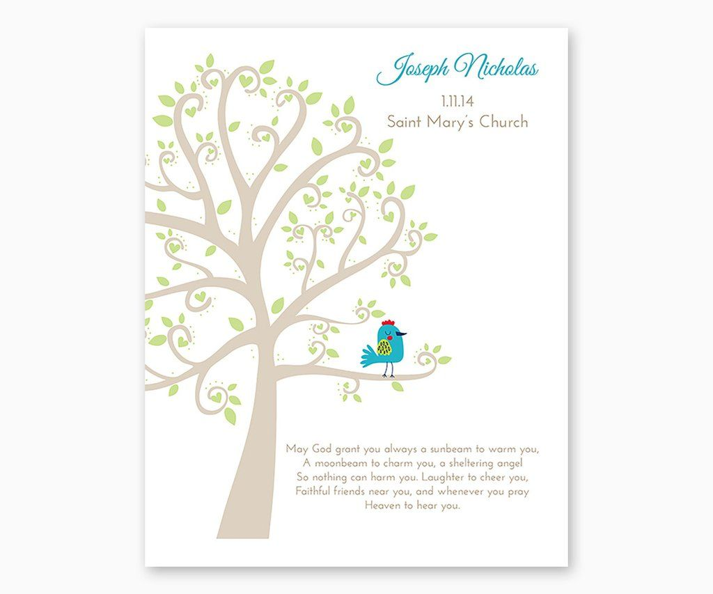 Personalized baptism or christening tree with baby bird white personalized baptism or christening tree with baby bird white background negle Choice Image