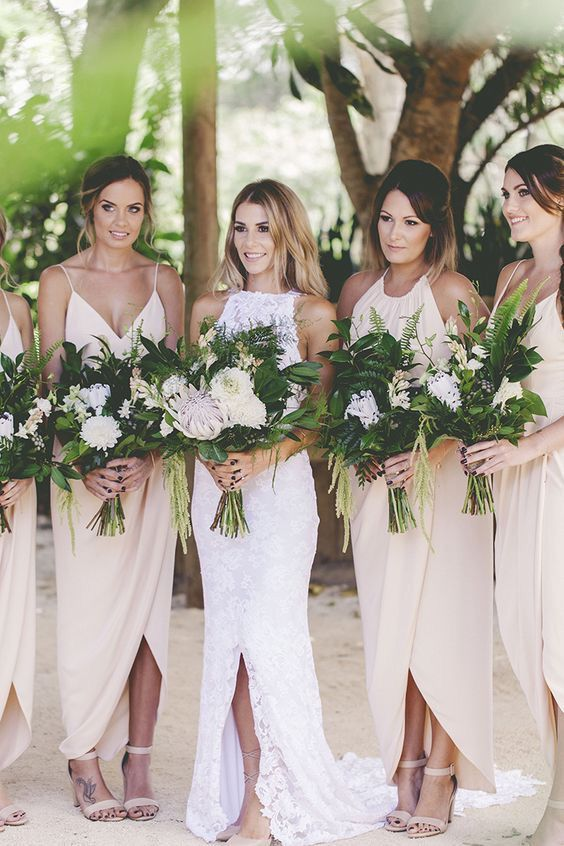 neutral beach wedding bridal party