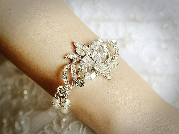 Hannah Vintage Style Wedding Bracelet Cz Art Deco Bridal White Ivory Pearl Victorian Jewelry Statement