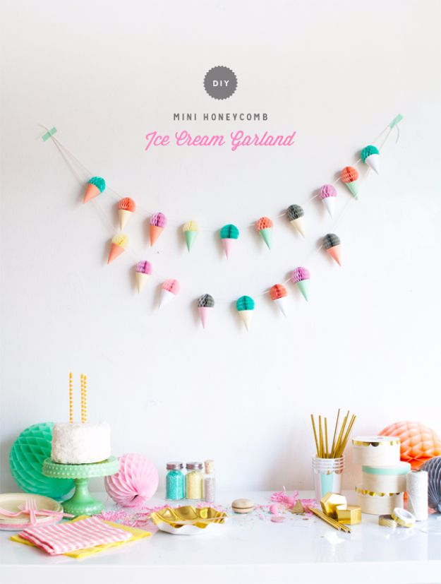 39 Easy Diy Party Decorations Banners And Garlands Ice Cream