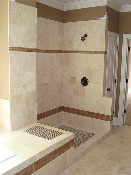tile shower idea - love the clean lines bathrooms Pinterest