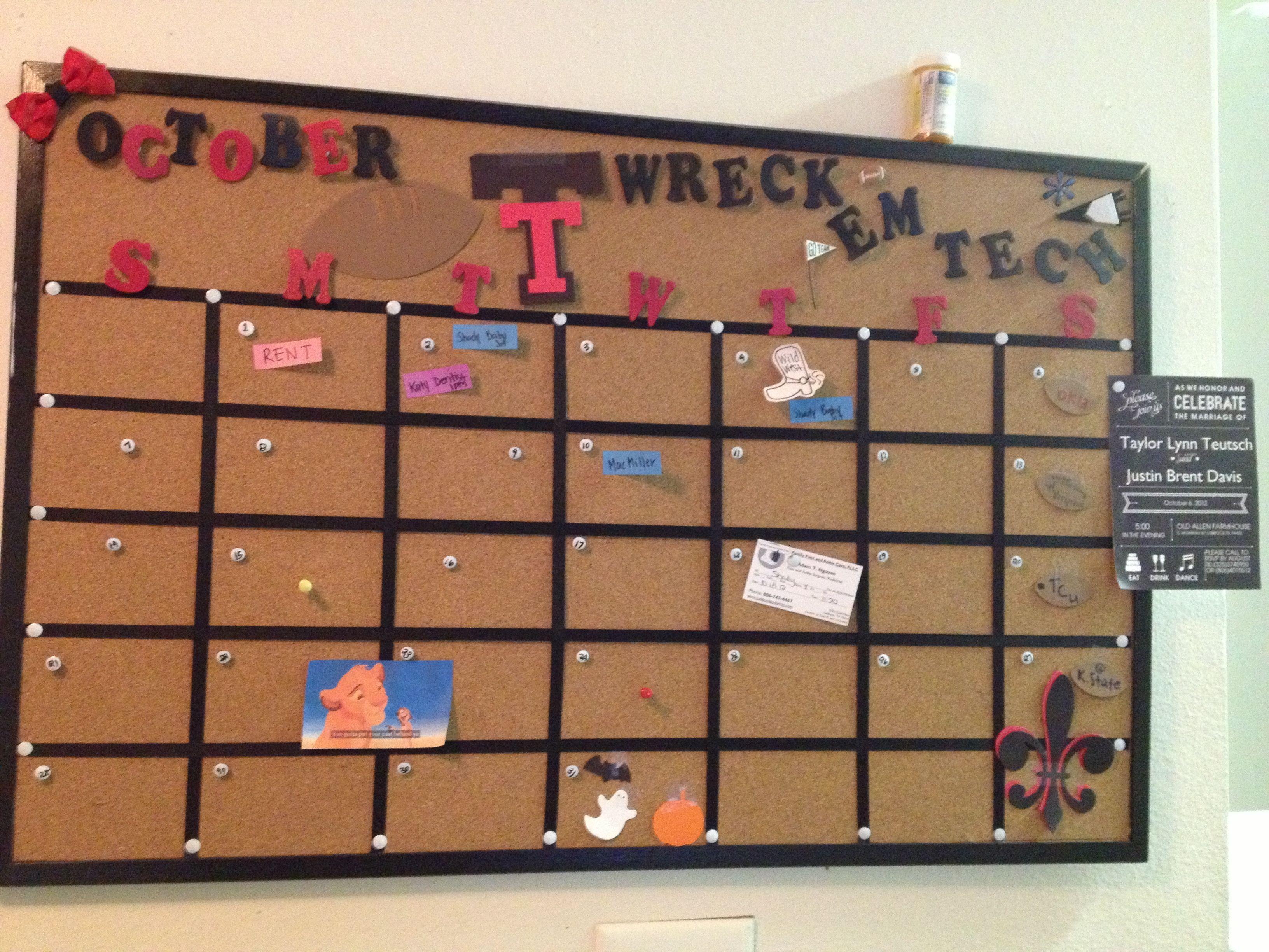 Ttu Corkboard Calendar Corkboard Calendar Cork Board Diy Cork