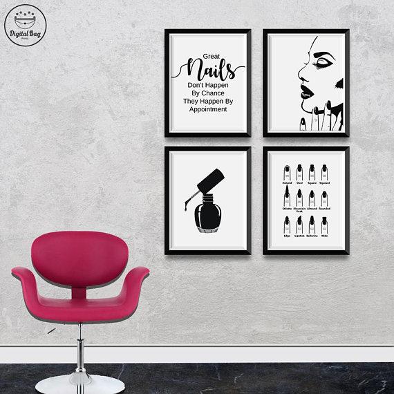 Nail Salon Decor Set of 4 Wall Art Prints, Digital Download