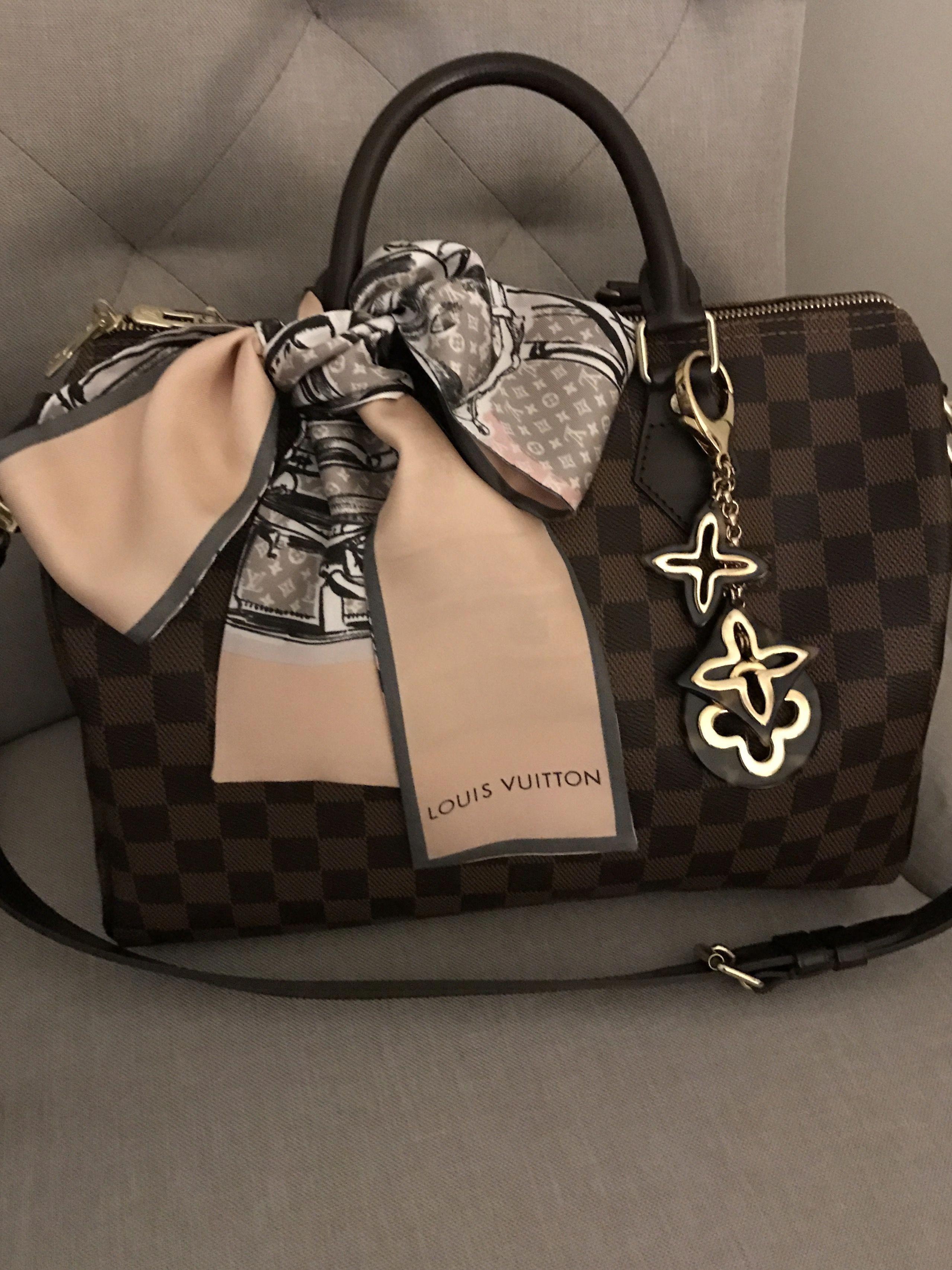 f1c138f037f9 Louis Vuitton speedy b 30 damier ebene.... so pretty with lv bandeau and  charm  Louisvuittonhandbags