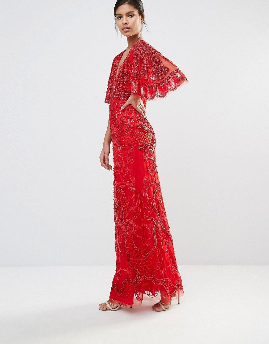 Star is born embellished crepe maxi dress in metallic lyst - Image 1 Of A Star Is Born Embellished Kimono Sleeve Maxi Dress