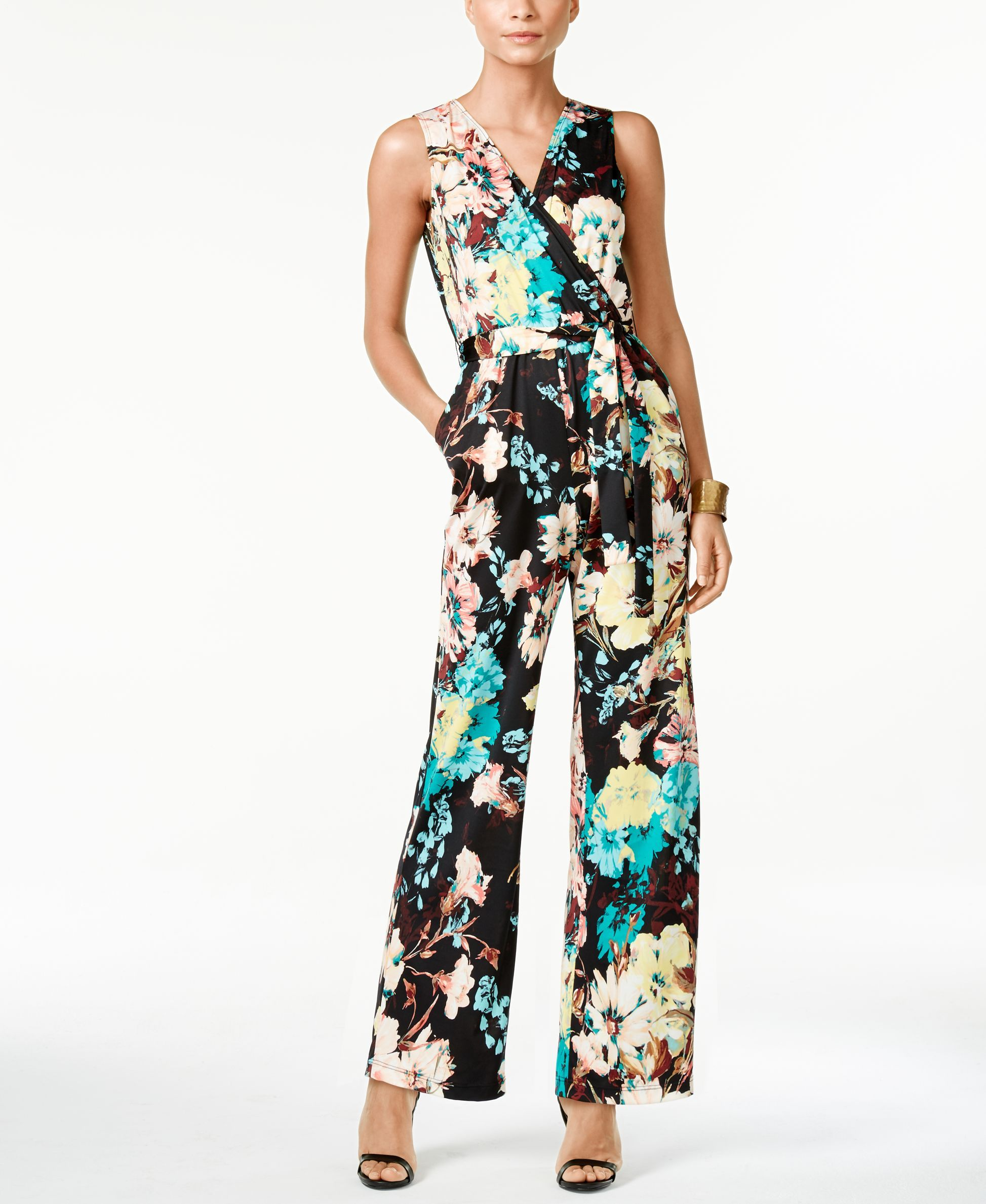 3ff2891d78 Ny Collection Petite Printed Surplice Belted Jumpsuit