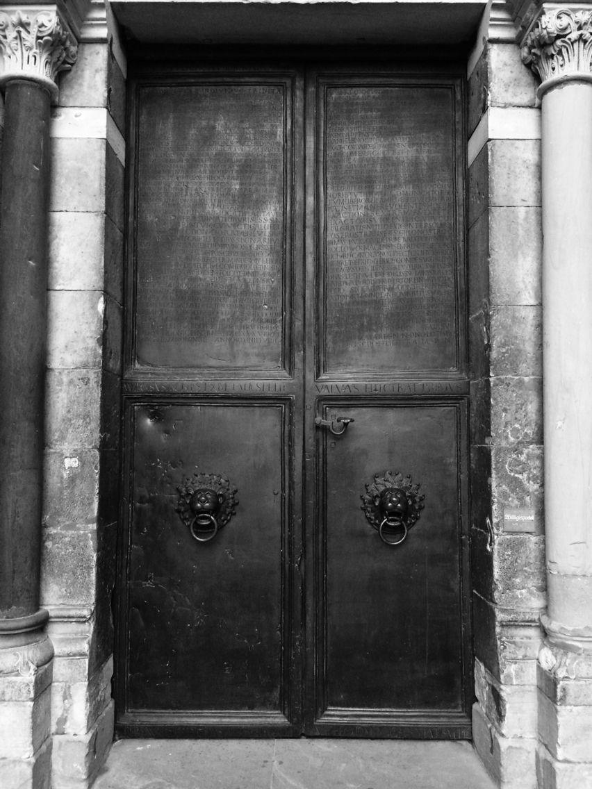 Side door at Saint Bonifatius Church in Mainz Germany