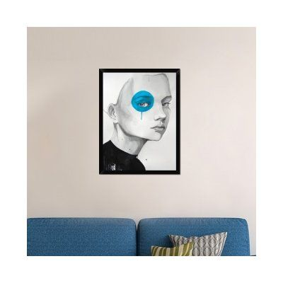 "Naxart 'Blue Dot' Framed Painting Print on Canvas Size: 34"" H x 26"" W x 1.5"" D"