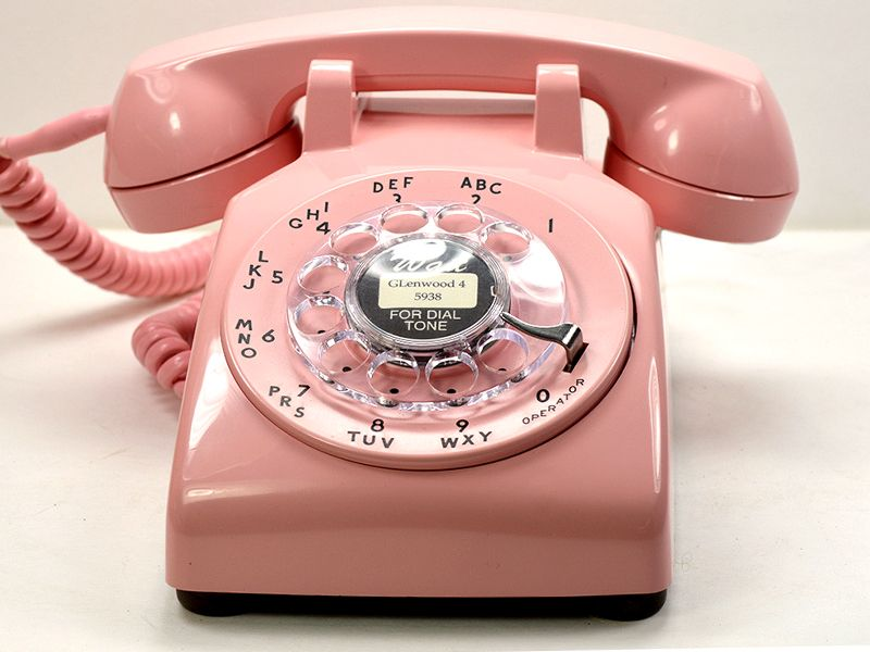 Vintage Rotary Phone in bashful pink as curated by The American Telephone Store. #Vintage #Pink #Phone