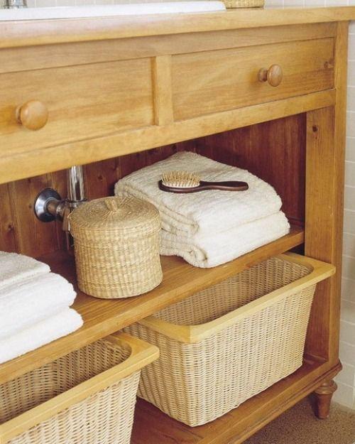 Ideen Für Aufbewahrung Korb Ablage Schrank Badezimmer | Bäder ... Korb Badezimmer
