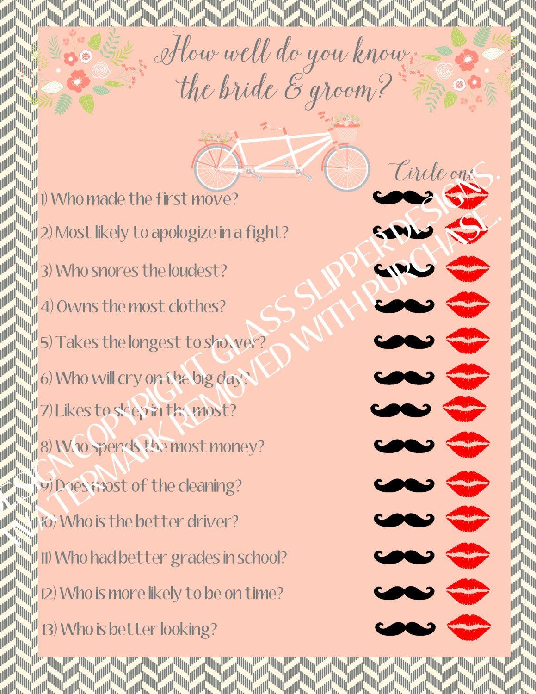 Instant download printable bridal shower game couples Who gives the bridal shower for the bride